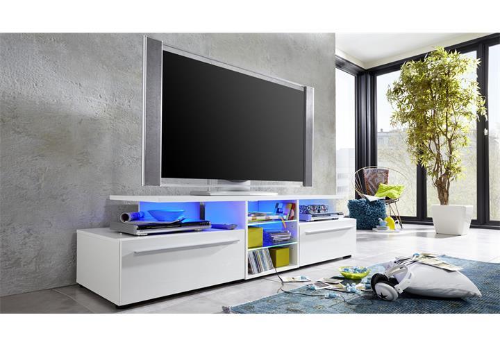 tv lowboard version in wei hochglanz tv board unterteil unterschrank tv m bel ebay. Black Bedroom Furniture Sets. Home Design Ideas