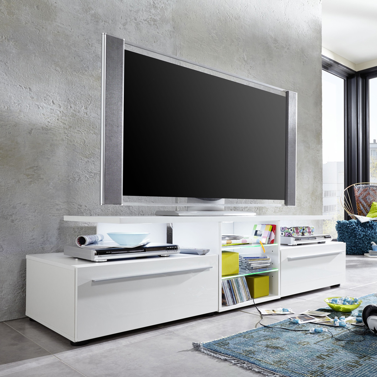 tv lowboard version in wei hochglanz unterteil unterschrank tv board tv m bel ebay. Black Bedroom Furniture Sets. Home Design Ideas