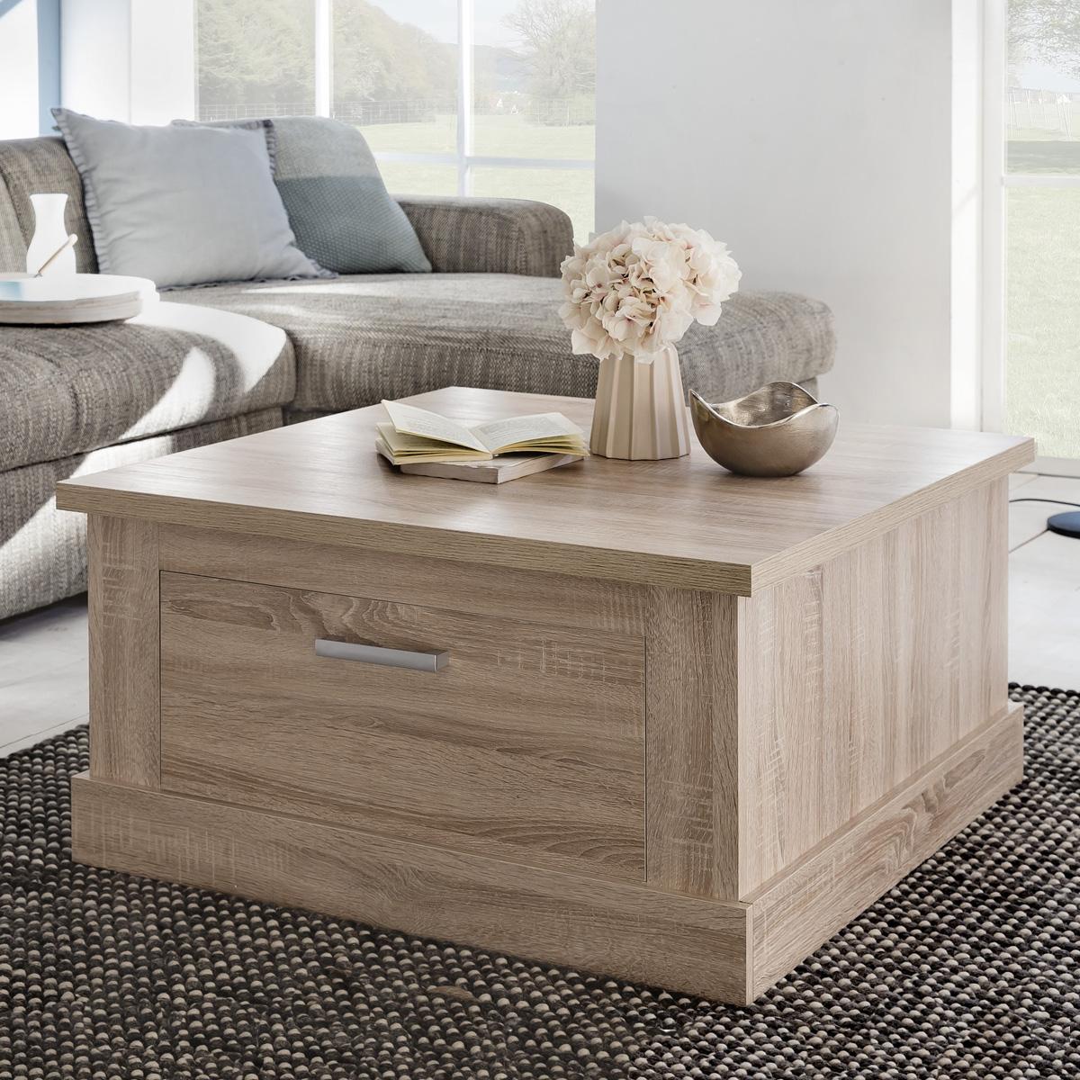couchtisch universal eiche s gerau hell dekor wohnzimmer tisch mit schubk sten eur 128 95. Black Bedroom Furniture Sets. Home Design Ideas