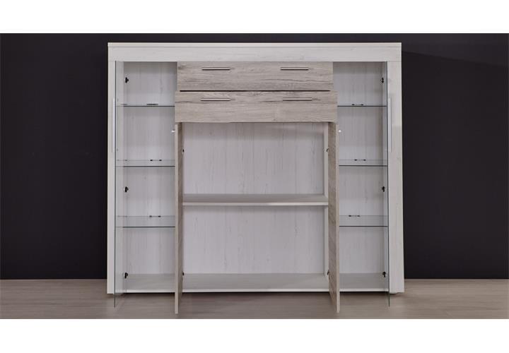 highboard boom kommode in pinie wei struktur und eiche san remo sand wohnzimmer ebay. Black Bedroom Furniture Sets. Home Design Ideas