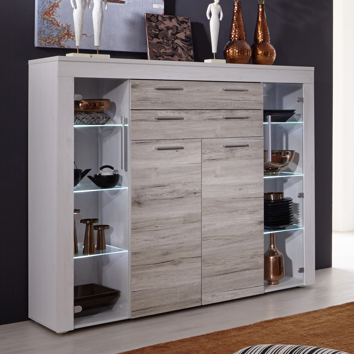 highboard boom kommode in pinie wei struktur und eiche san remo sand wohnzimmer ebay. Black Bedroom Furniture Sets. Home Design Ideas