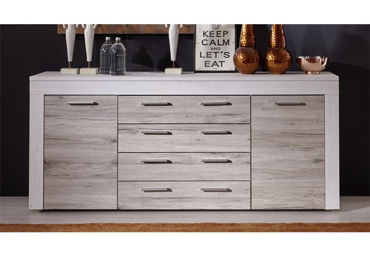 sideboard boom in pinie wei struktur und eiche san remo sand kommode wohnzimmer ebay. Black Bedroom Furniture Sets. Home Design Ideas