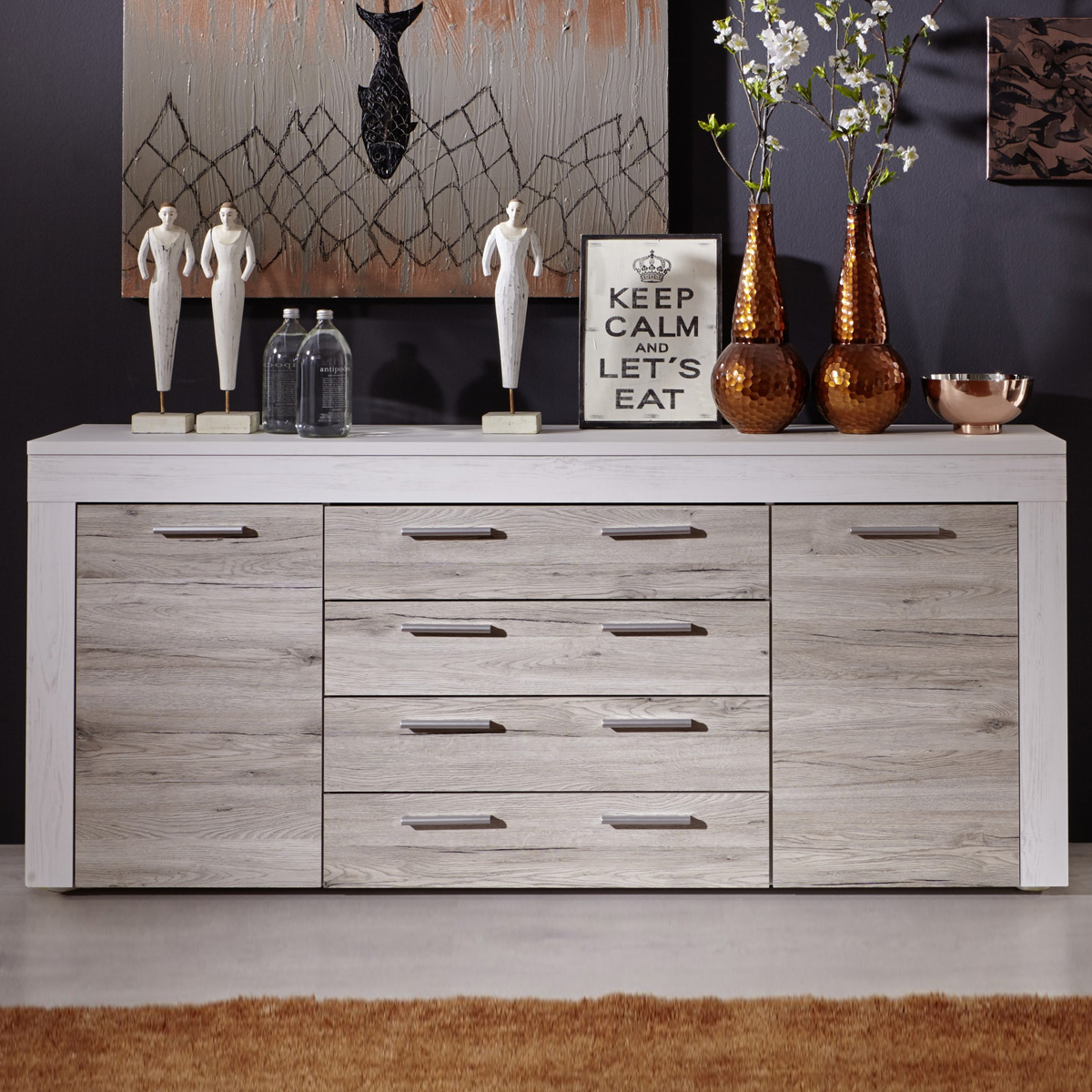 sideboard boom in pinie wei struktur und eiche san remo sand kommode wohnzimmer eur 204 95. Black Bedroom Furniture Sets. Home Design Ideas