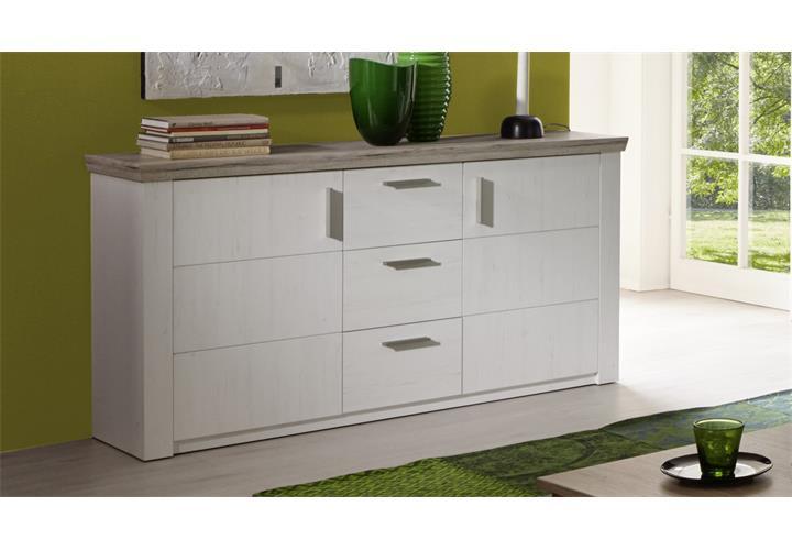 sideboard elia in pinie struktur wei und eiche san remo sand kommode wohnzimmer ebay. Black Bedroom Furniture Sets. Home Design Ideas