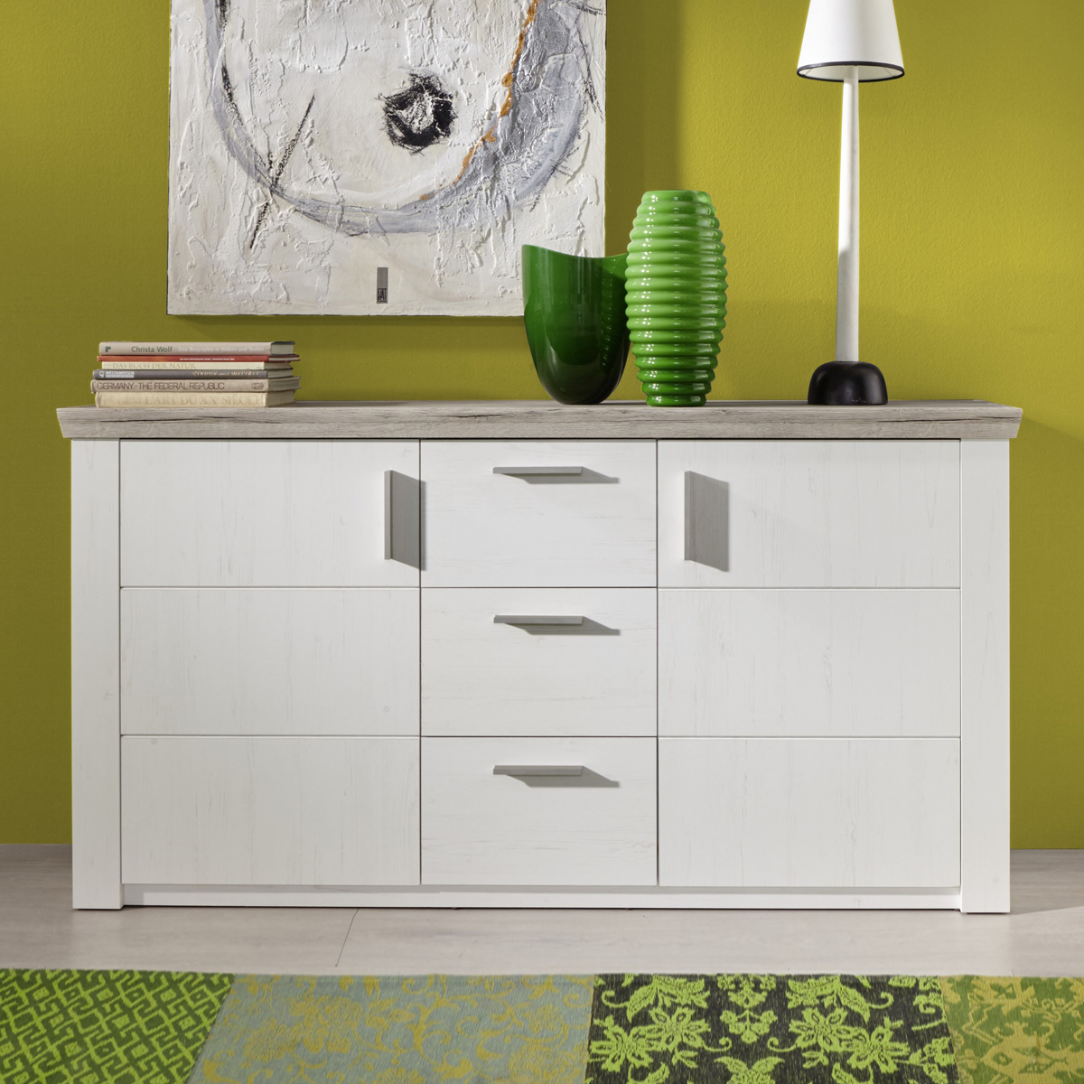 sideboard elia in pinie struktur wei und eiche san remo sand kommode wohnzimmer ebay. Black Bedroom Furniture Sets. Home Design Ideas