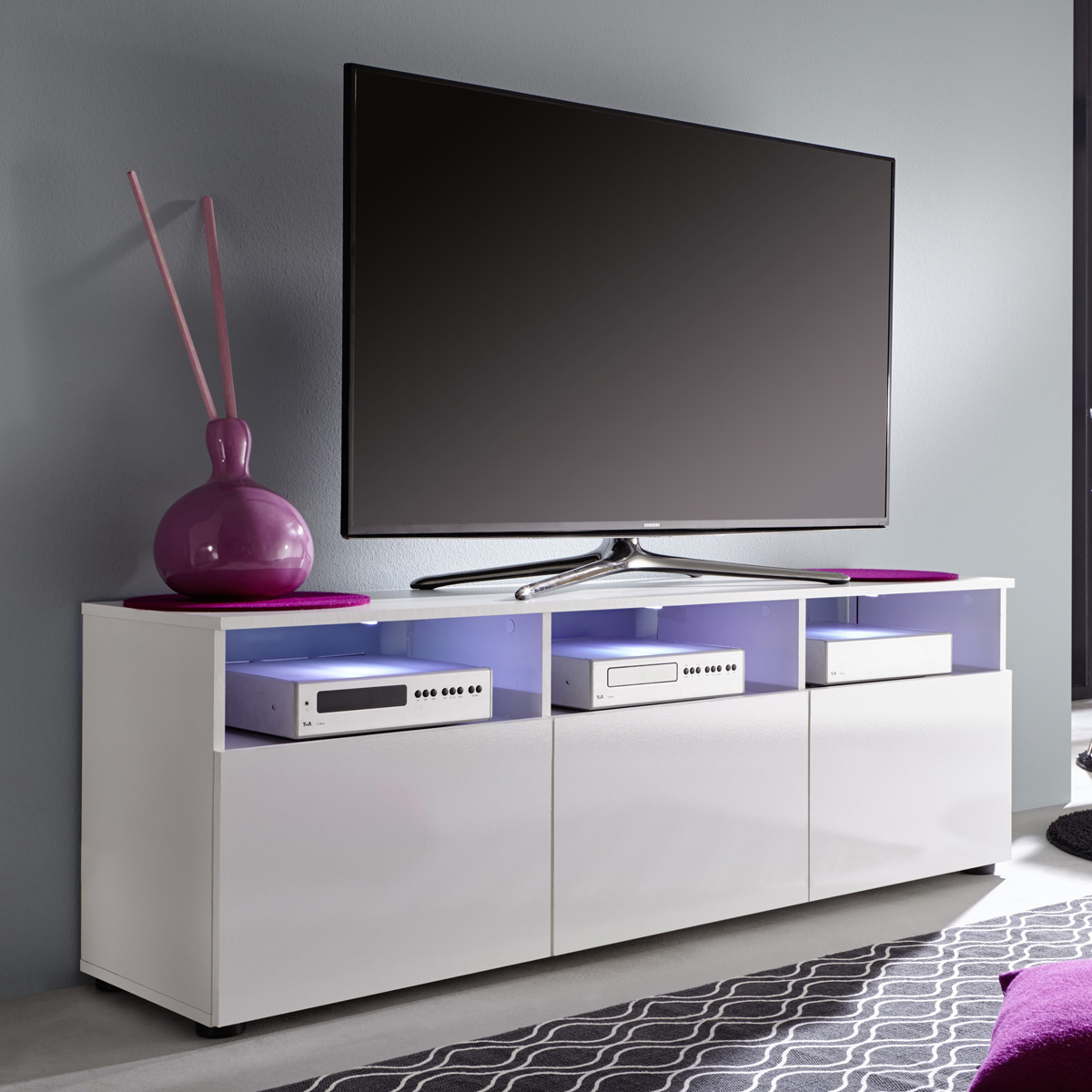 tv lowboard 1 mediathek in wei hochglanz tv m bel tv board unterteil ebay. Black Bedroom Furniture Sets. Home Design Ideas