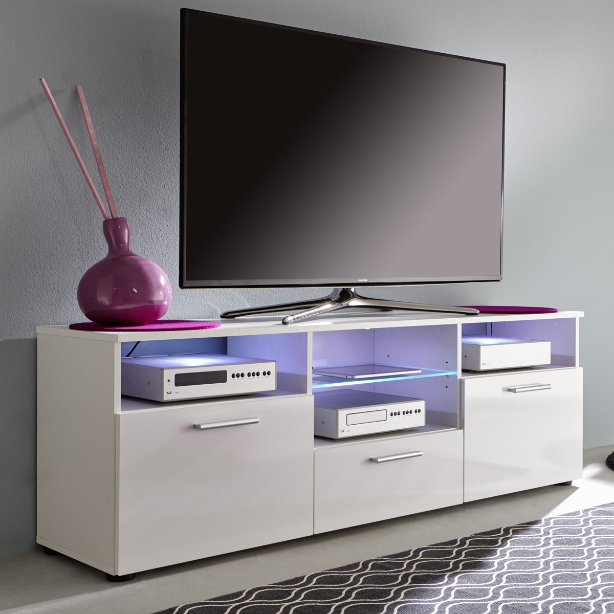 tv lowboard mediathek in wei hochglanz tv board unterteil tv m bel wohnzimmer ebay. Black Bedroom Furniture Sets. Home Design Ideas