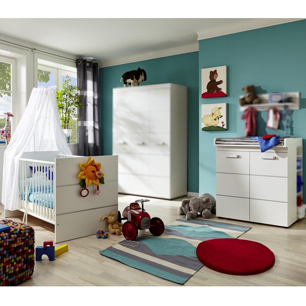 babyzimmer leony set 2 teilig babybett wickelkommode in wei. Black Bedroom Furniture Sets. Home Design Ideas