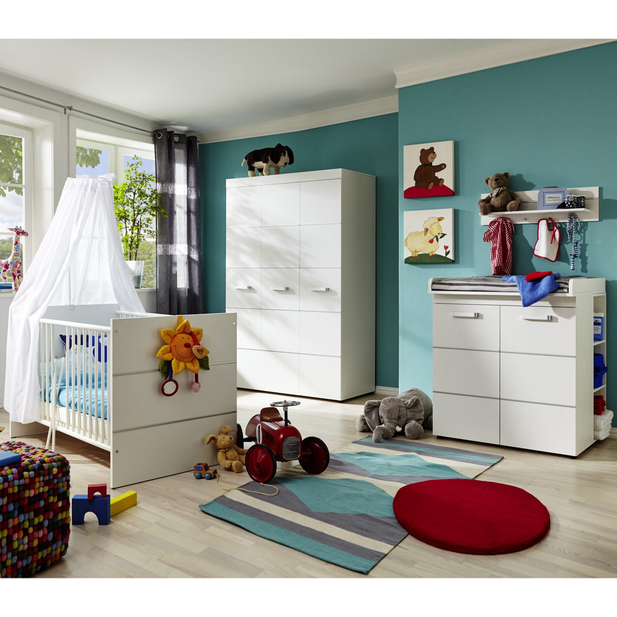babyzimmer leony 6 tlg komplett kinderzimmer babybett kleiderschrank wei. Black Bedroom Furniture Sets. Home Design Ideas