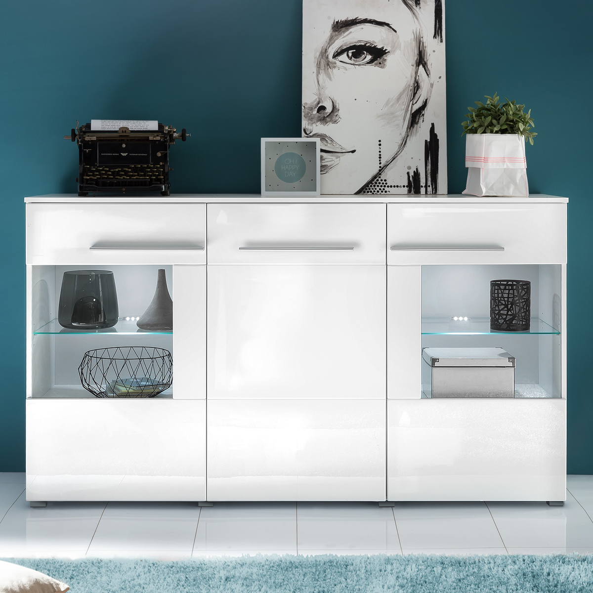 sideboard vision in wei hochglanz mit led kommode. Black Bedroom Furniture Sets. Home Design Ideas