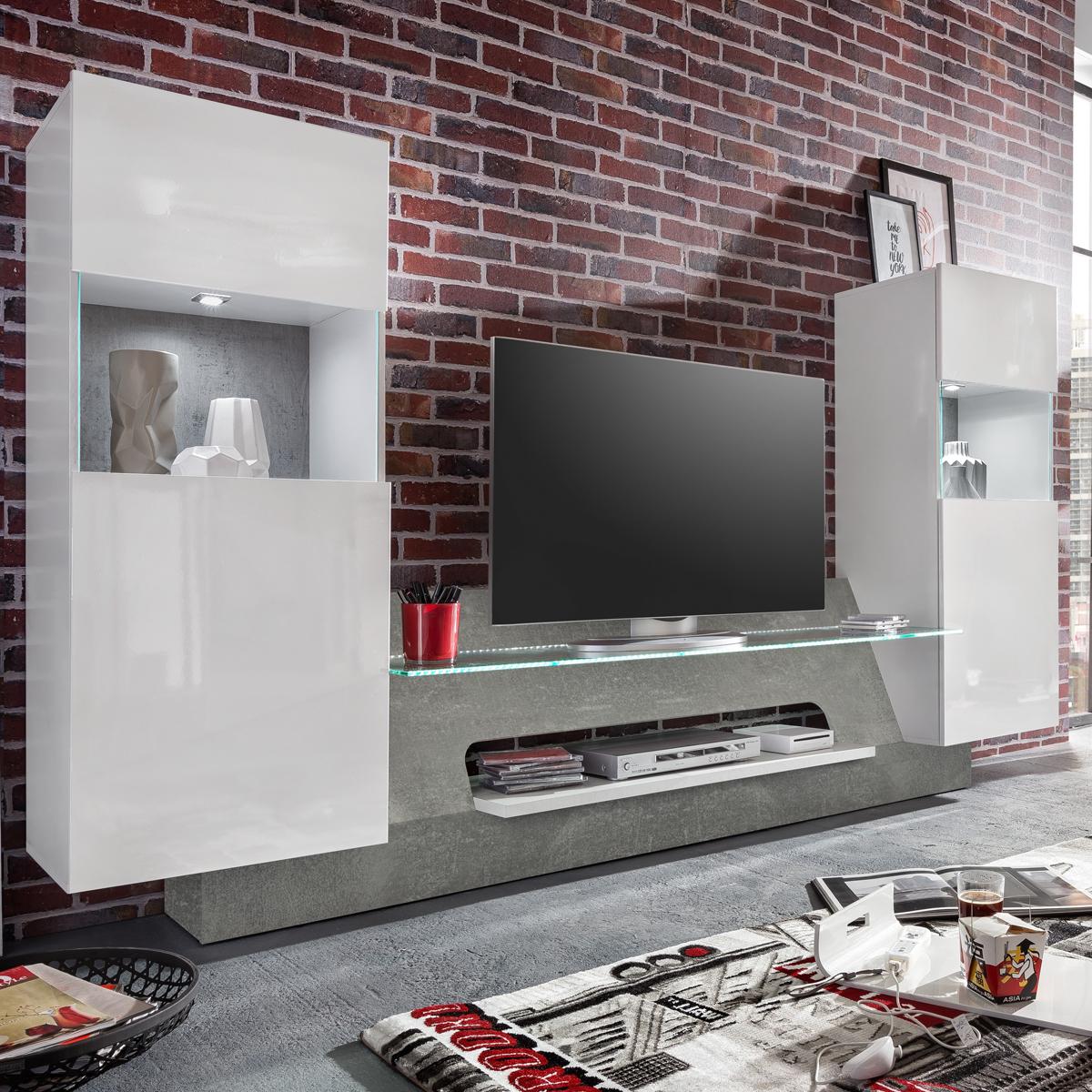 Mediawand Air Medienwand in weiß Glanz und Beton grey inkl. LED TV ...