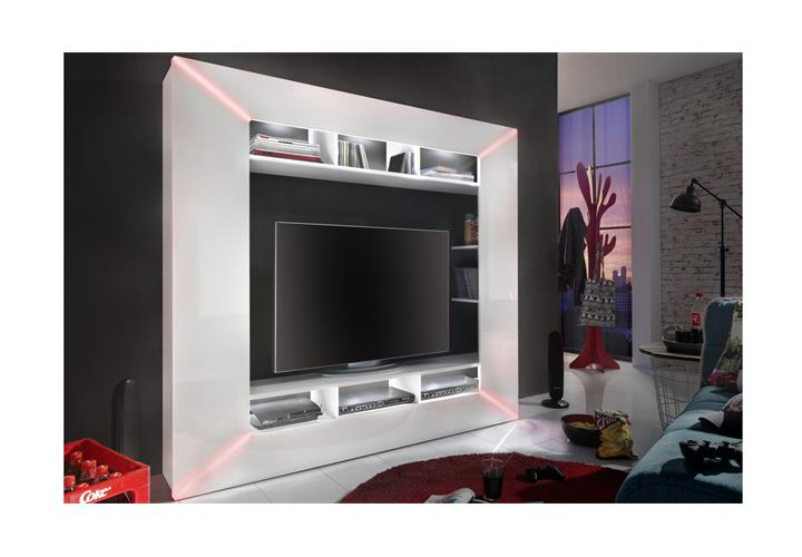 mediawand race medienwand wei hochglanz inkl rgb beleuchtung wohnwand tv wand eur 354 95. Black Bedroom Furniture Sets. Home Design Ideas