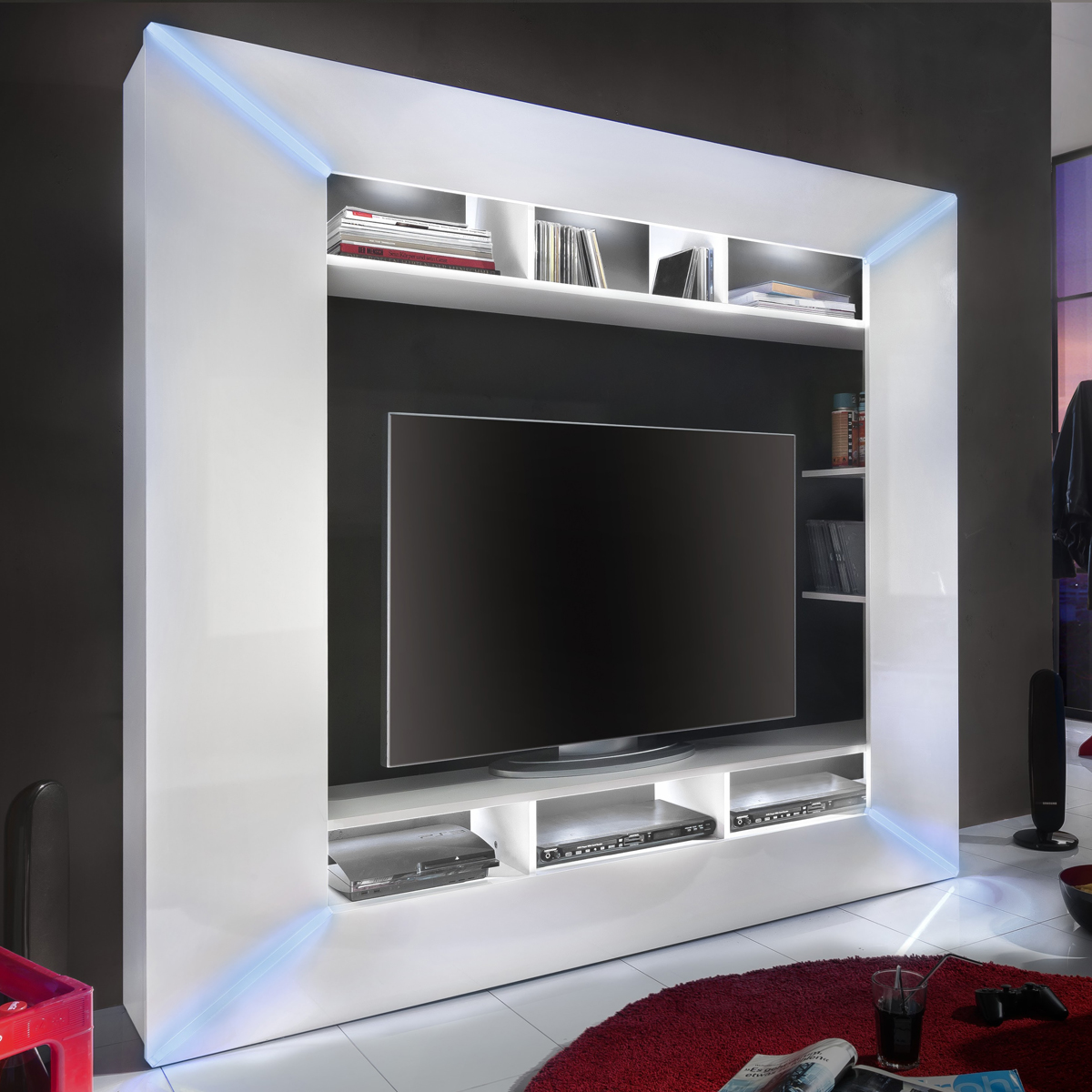 mediawand race medienwand wei hochglanz inkl rgb beleuchtung wohnwand tv wand ebay. Black Bedroom Furniture Sets. Home Design Ideas