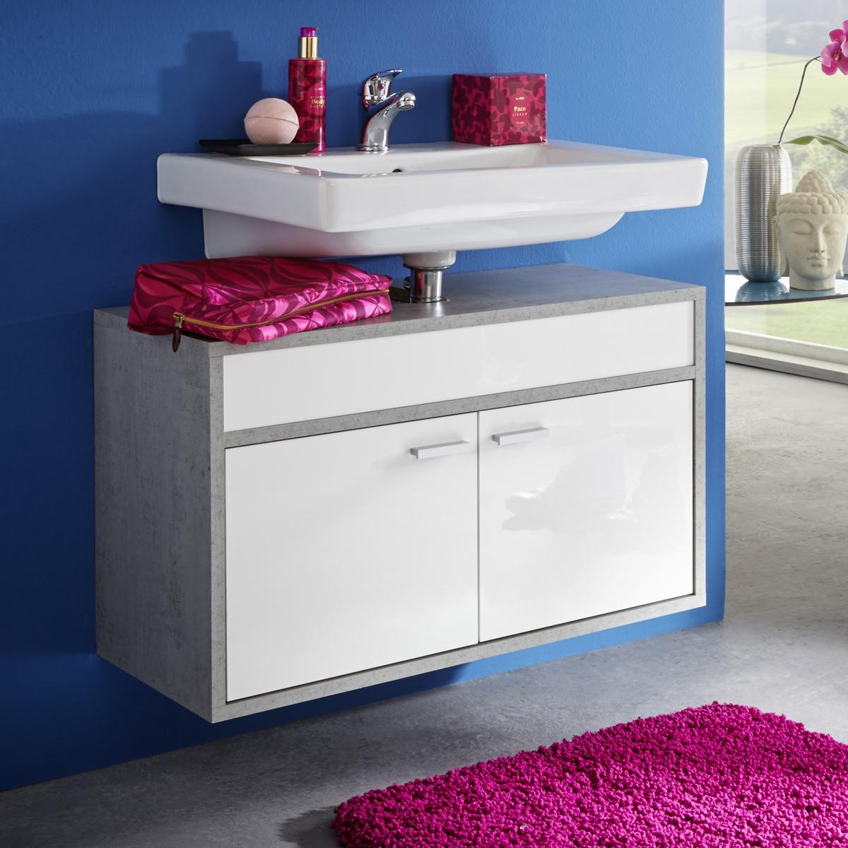 waschbeckenunterschrank spa wei und glanz beton industry badm bel badschrank. Black Bedroom Furniture Sets. Home Design Ideas