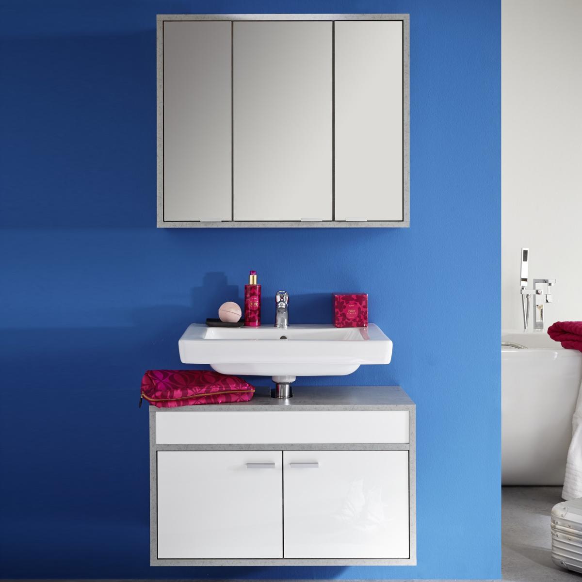 badezimmer set spa wei glanz beton industry badm bel badschr nke bad ebay. Black Bedroom Furniture Sets. Home Design Ideas