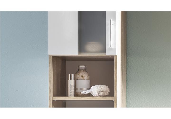 bad hochschrank porto eiche s gerau wei melamin badschrank badm bel badezimmer eur 138 95. Black Bedroom Furniture Sets. Home Design Ideas