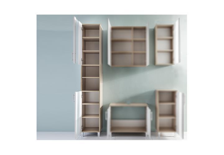 bad hochschrank porto eiche s gerau wei melamin badschrank badm bel badezimmer ebay. Black Bedroom Furniture Sets. Home Design Ideas