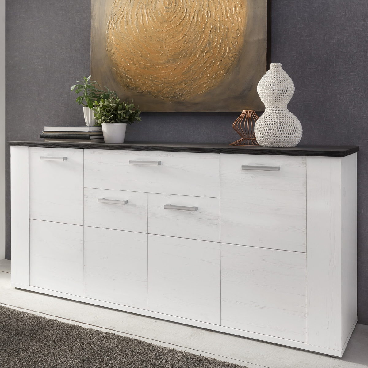 sideboard dakota in pinie wei struktur touchwood dunkelbraun kommode wohnzimmer ebay. Black Bedroom Furniture Sets. Home Design Ideas