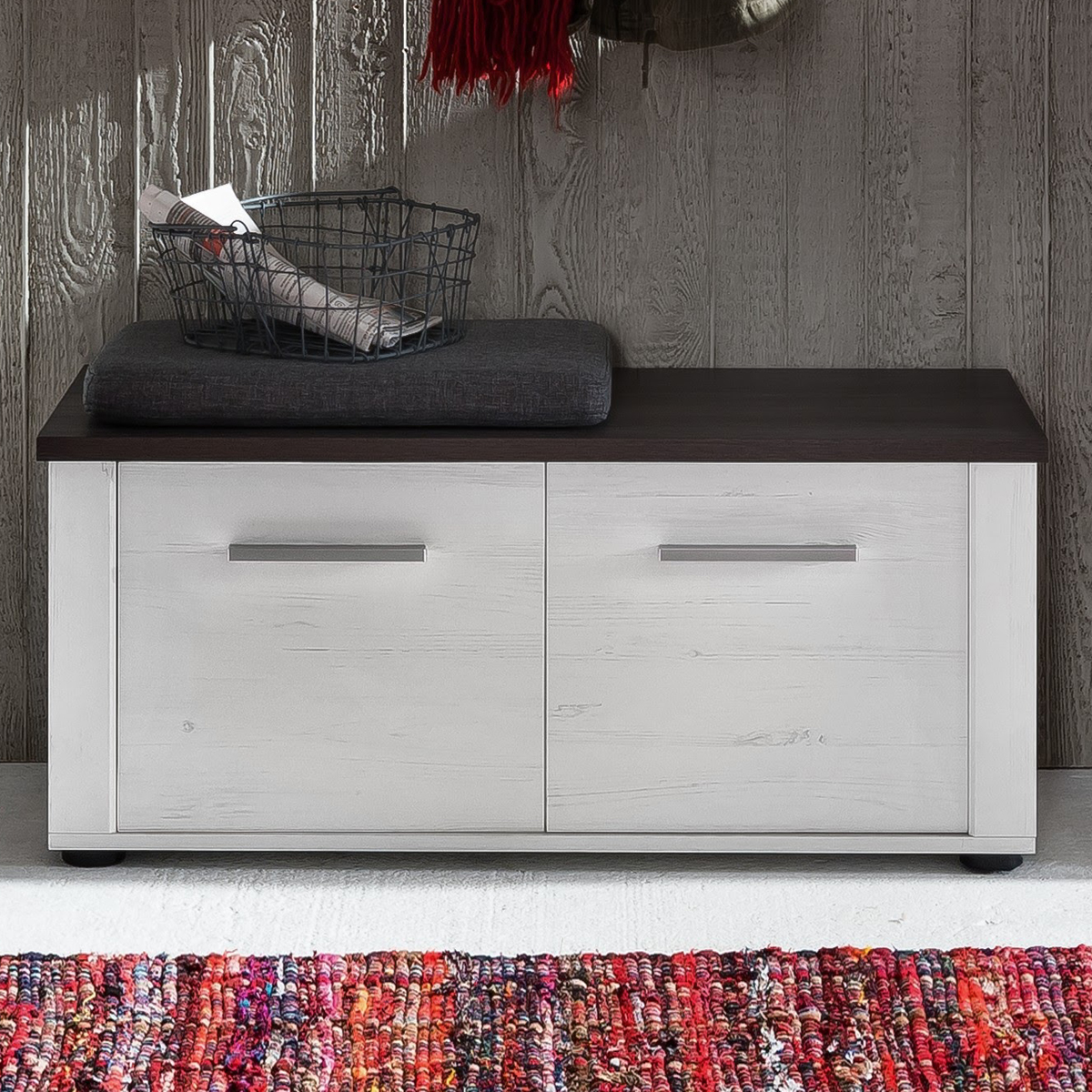 sitzbank dakota schuhbank pinie wei struktur touchwood dunkelbraun flurm bel ebay. Black Bedroom Furniture Sets. Home Design Ideas