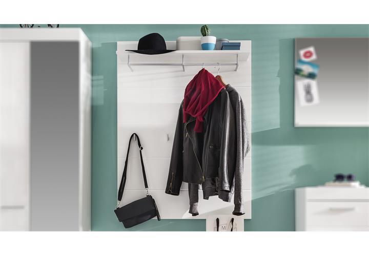 garderobenpaneel 1 amanda wandgarderobe in wei hochglanz. Black Bedroom Furniture Sets. Home Design Ideas