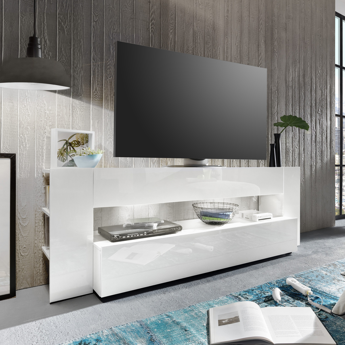 tv lowboard onyx tv board lowboard in wei hochglanz tv m bel led beleuchtung ebay. Black Bedroom Furniture Sets. Home Design Ideas