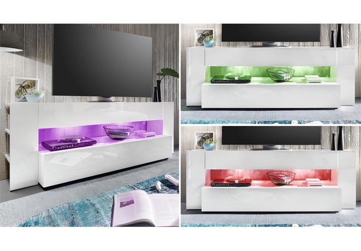 tv lowboard onyx tv board lowboard in wei hochglanz tv m bel led. Black Bedroom Furniture Sets. Home Design Ideas