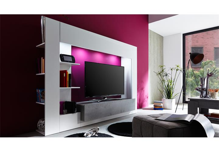 medienwand harry wohnwand in wei und beton industry grau anbauwand ebay. Black Bedroom Furniture Sets. Home Design Ideas