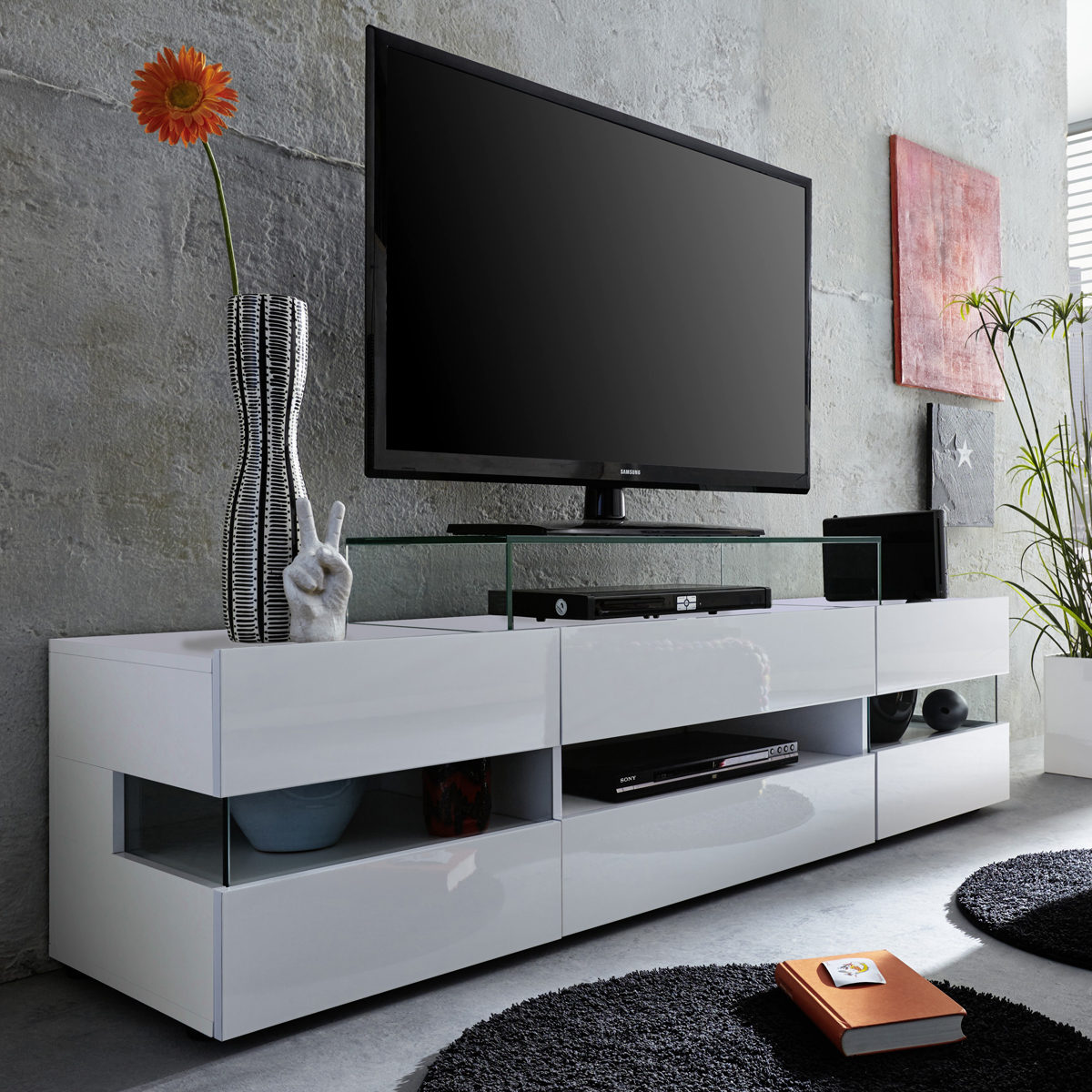tv lowboard sonic tv board lowboard fernsehtisch in wei melamin glanz ebay. Black Bedroom Furniture Sets. Home Design Ideas