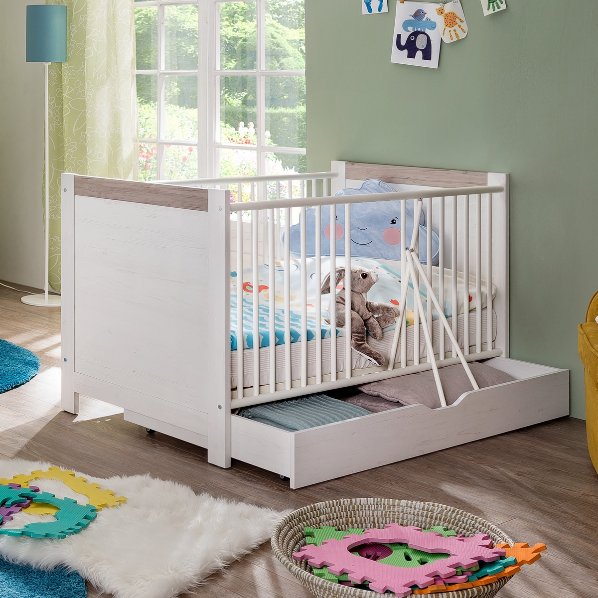 babybett nils gitterbett in pinie struktur wei kinderbett babyzimmer eur 238 95 picclick de. Black Bedroom Furniture Sets. Home Design Ideas