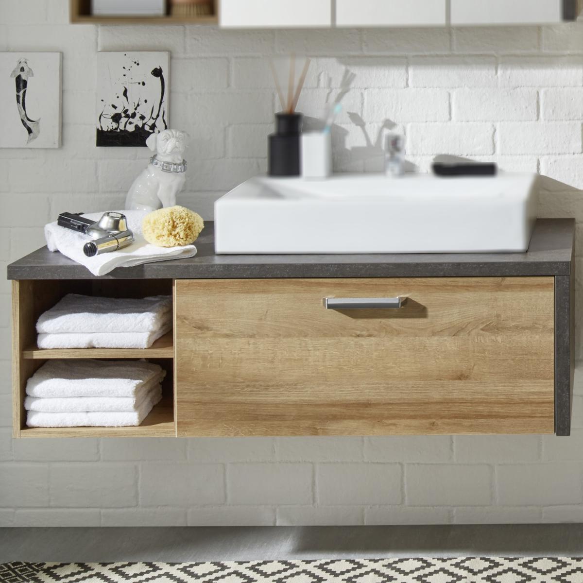 waschbeckenunterschrank 1 bahia badschrank eiche riviera honig und beton dunkel ebay. Black Bedroom Furniture Sets. Home Design Ideas