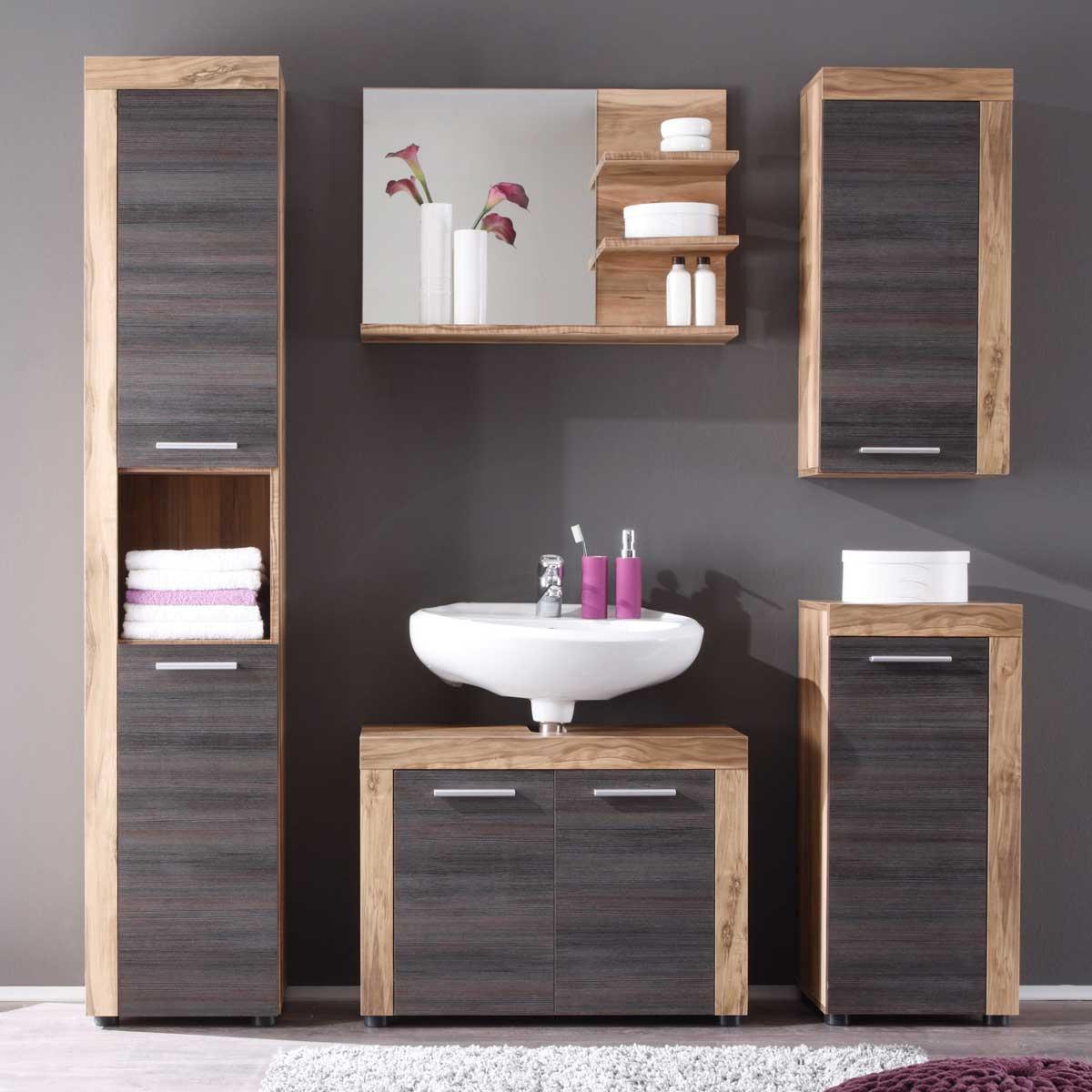 badezimmer cancun badm bel sets mit spiegel nussbaum satin touchwood ebay. Black Bedroom Furniture Sets. Home Design Ideas