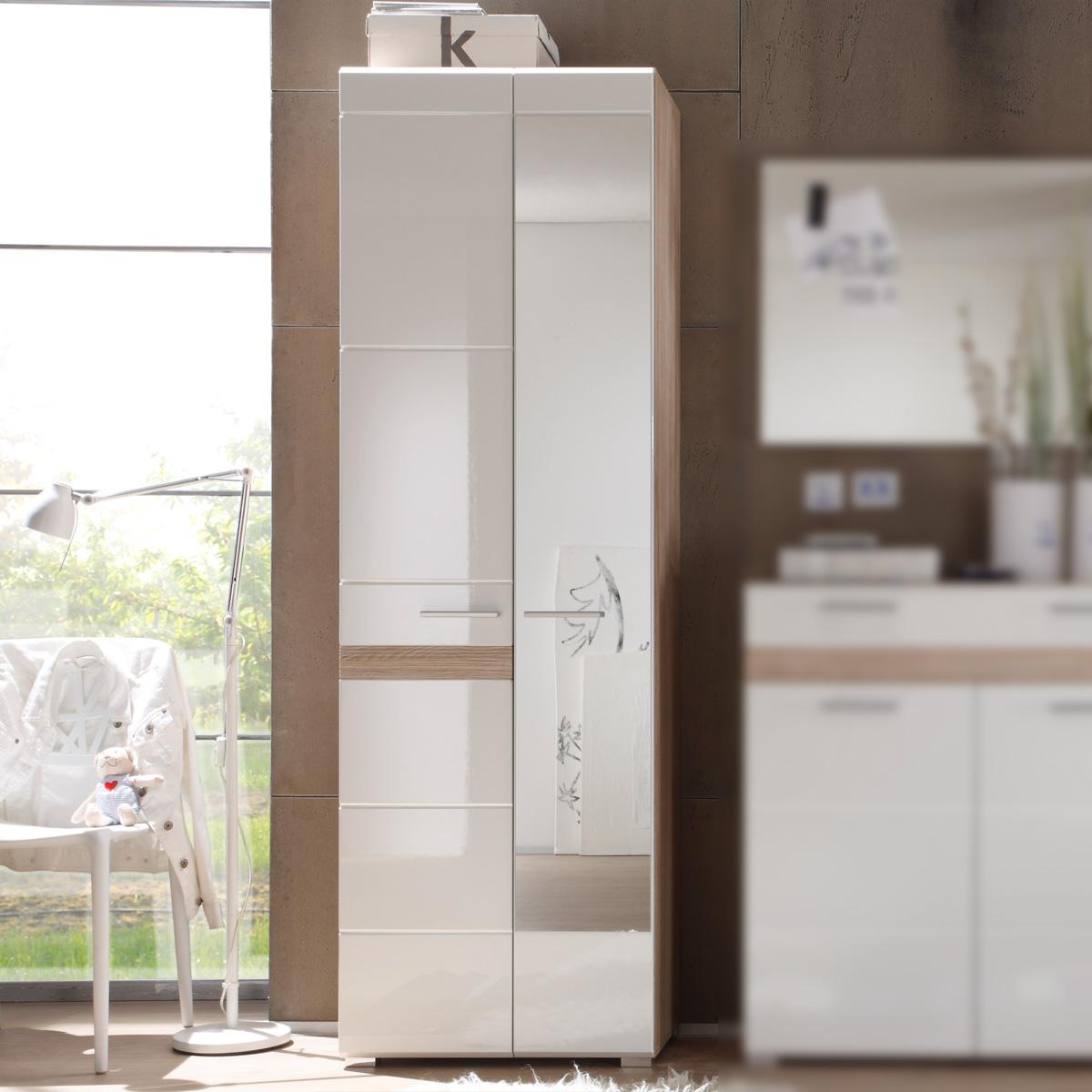 garderobenschrank setone hochschrank garderobe in eiche san remo wei hochglanz ebay. Black Bedroom Furniture Sets. Home Design Ideas