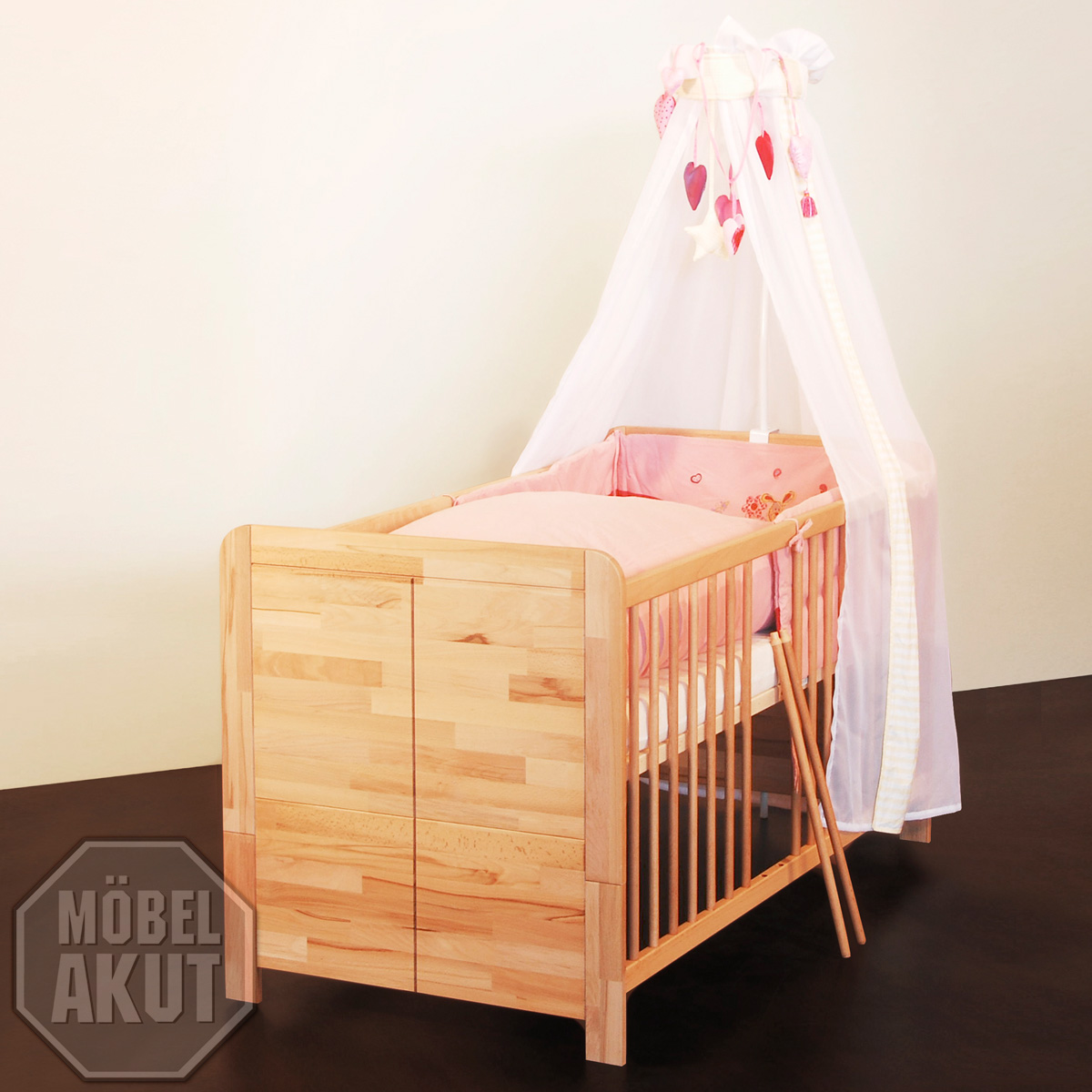 babybett berlin bett kinderbett in kernbuche massiv buche 70x140 ebay. Black Bedroom Furniture Sets. Home Design Ideas