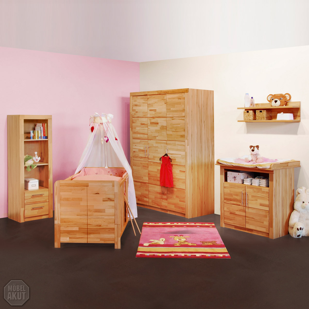 5 tlg babyzimmer set berlin kinderzimmer schrank bett regal kommode kern buche ebay. Black Bedroom Furniture Sets. Home Design Ideas