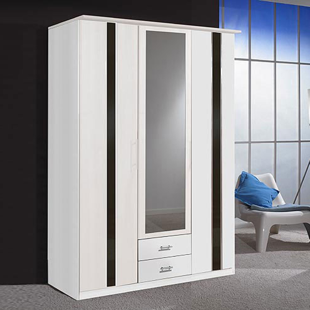 kleiderschrank komet schlafzimmer schrank in wei mit schwarz 135 cm breit ebay. Black Bedroom Furniture Sets. Home Design Ideas