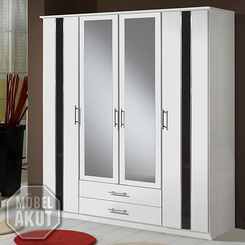 kleiderschrank hit wei schwarz hochglanz 180cm ebay. Black Bedroom Furniture Sets. Home Design Ideas