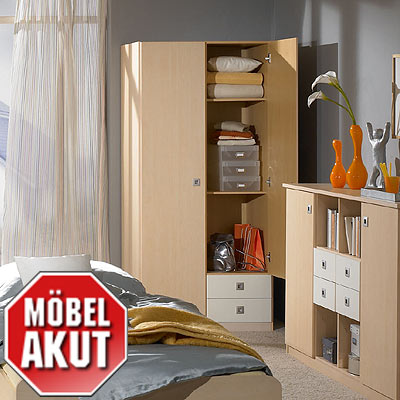 kleiderschrank eddi schrank in ahorn wei neu ebay. Black Bedroom Furniture Sets. Home Design Ideas