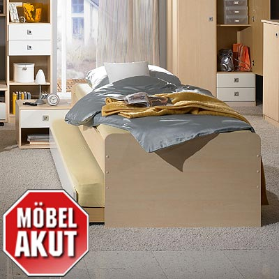 bett eddi jugendbett in ahorn wei 90x200 cm ebay. Black Bedroom Furniture Sets. Home Design Ideas