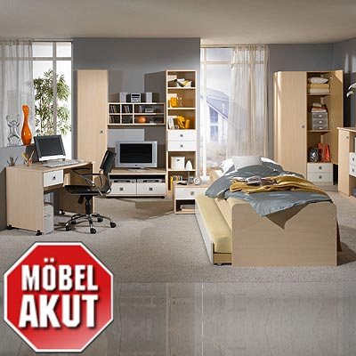 8 tlg jugendzimmer eddi kinderzimmer ahorn wei ebay. Black Bedroom Furniture Sets. Home Design Ideas