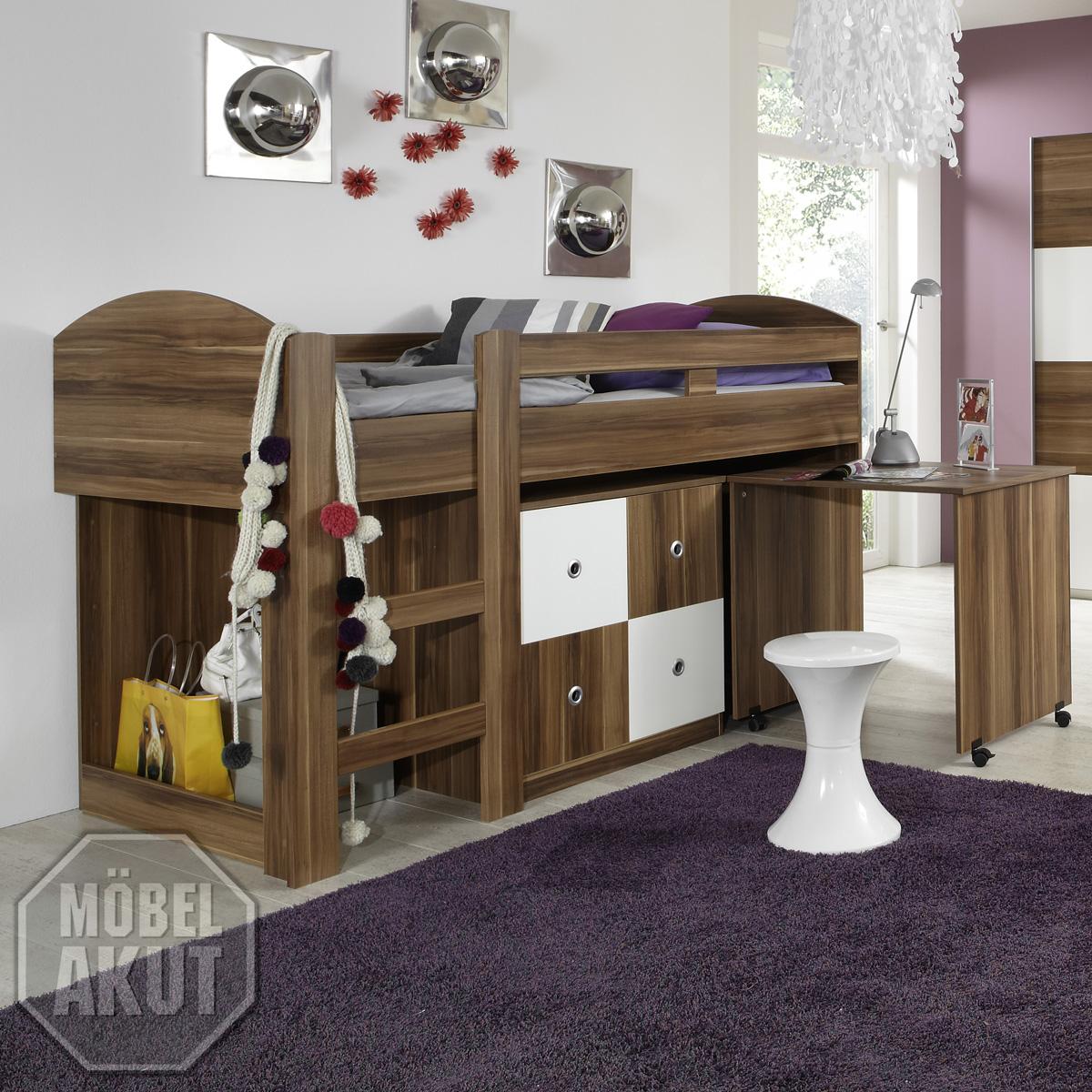 hochbett benno bett schreibtisch wei nussbaum ebay. Black Bedroom Furniture Sets. Home Design Ideas
