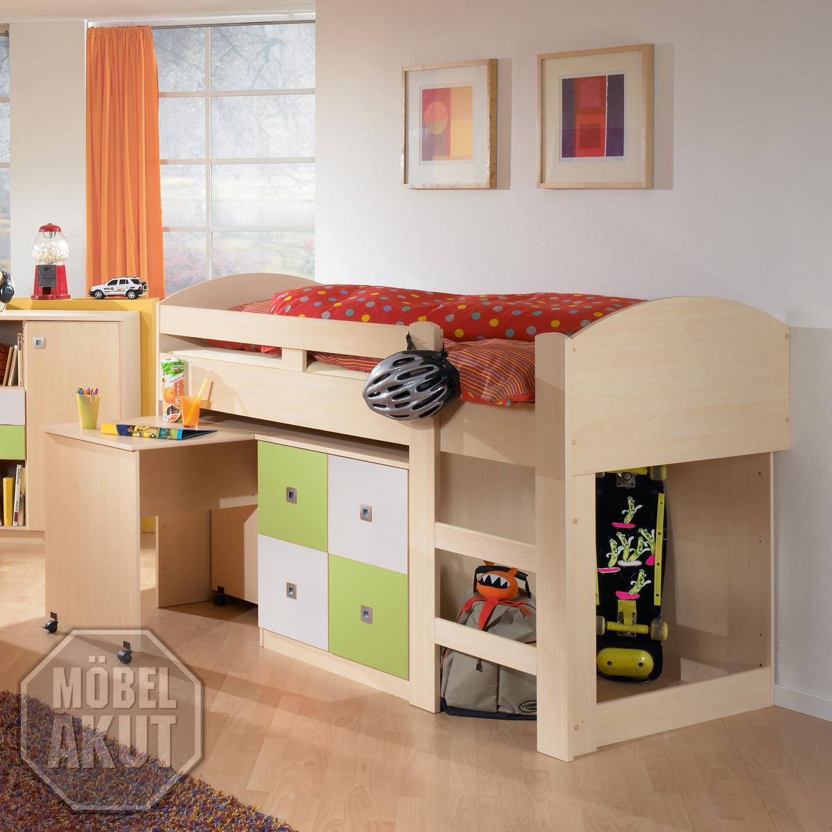 hochbett sando bett in ahorn gr n wei 90x200 ebay. Black Bedroom Furniture Sets. Home Design Ideas