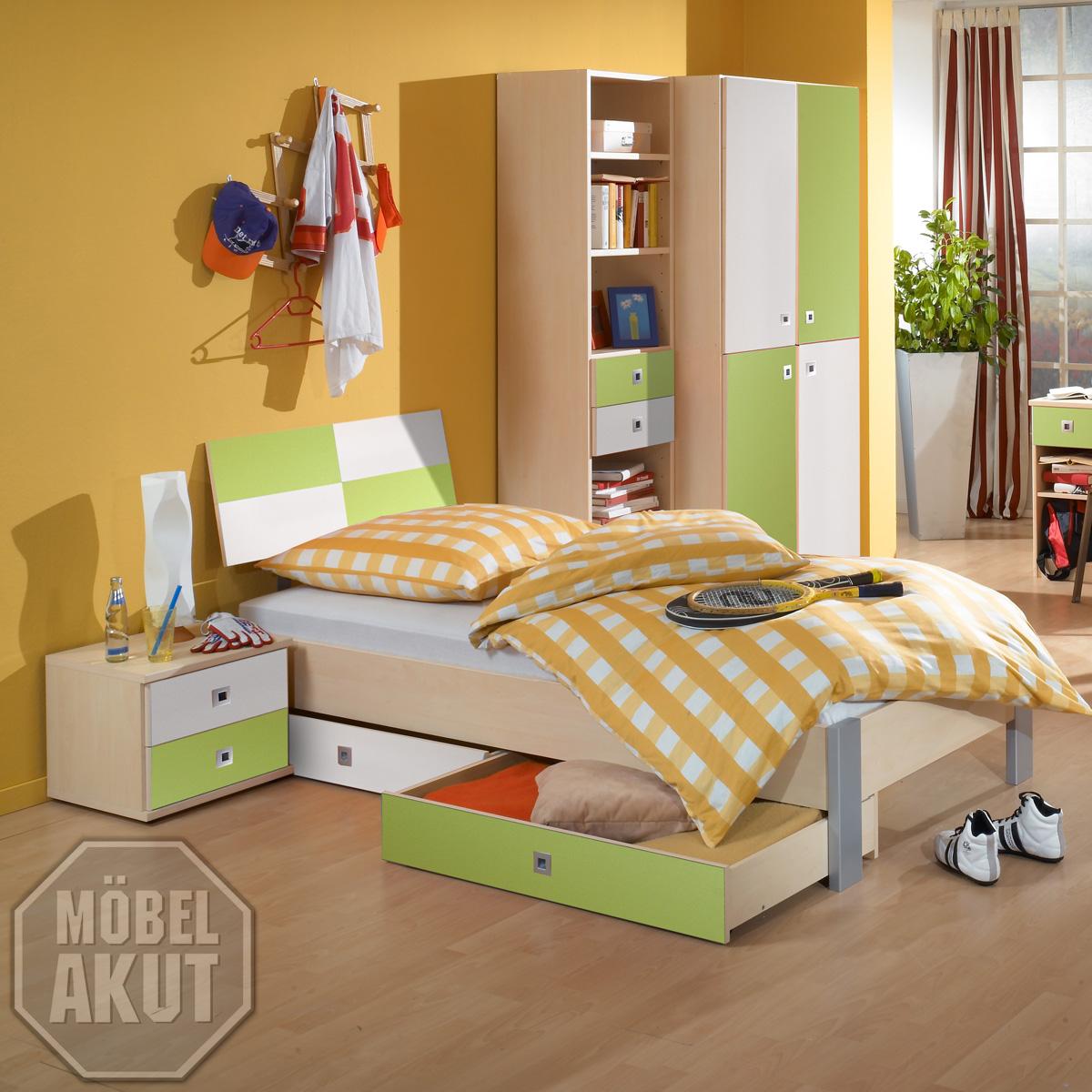 3 tlg jugendzimmer set sando ahorn gr n wei. Black Bedroom Furniture Sets. Home Design Ideas