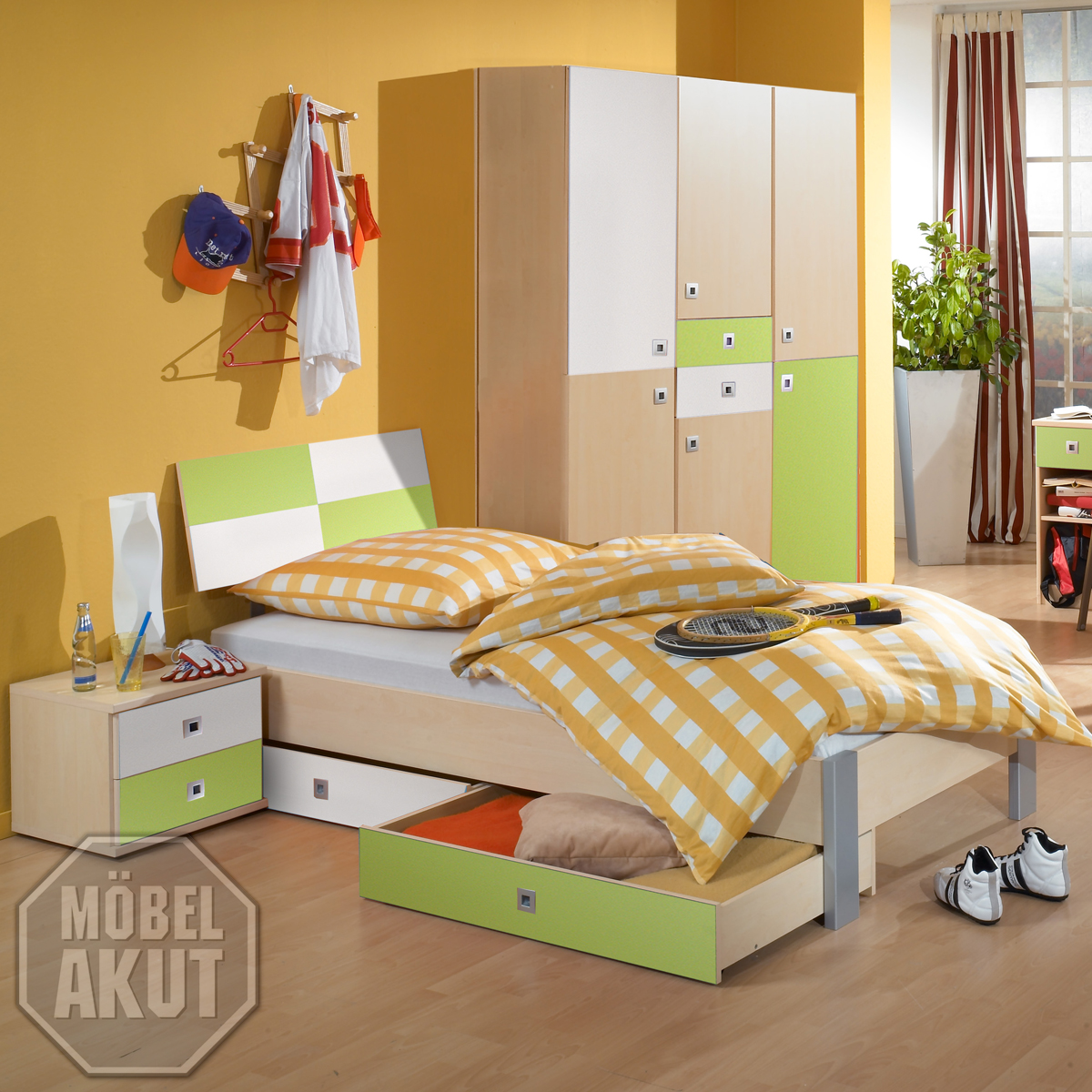 jugendzimmer sunny set 3 teilig kinderzimmer ahorn gr n und wei ebay. Black Bedroom Furniture Sets. Home Design Ideas
