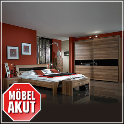 schlafzimmer monte carlo nussbaum glas schwarz bett schrank kommode 250cm ebay. Black Bedroom Furniture Sets. Home Design Ideas
