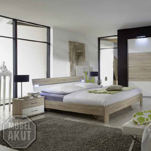futonbett taily bett in sonoma eiche s gerau wei inkl led 160x200 ebay. Black Bedroom Furniture Sets. Home Design Ideas