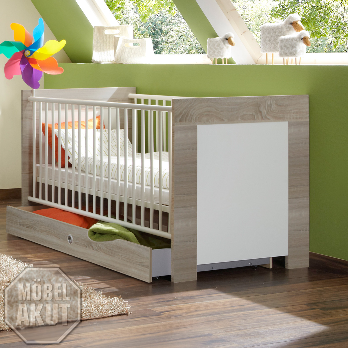babybett cheria bett kinderbett in sonoma eiche s gerau wei 70x140 ebay. Black Bedroom Furniture Sets. Home Design Ideas