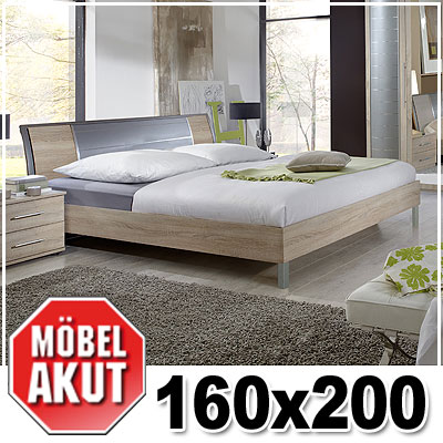 futonbett aston bett in sonoma eiche s gerau alu 160x200 ebay. Black Bedroom Furniture Sets. Home Design Ideas