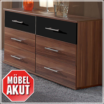 kommode aston schubkastenkommode in franz sisch nussbaum schwarz neu ebay. Black Bedroom Furniture Sets. Home Design Ideas