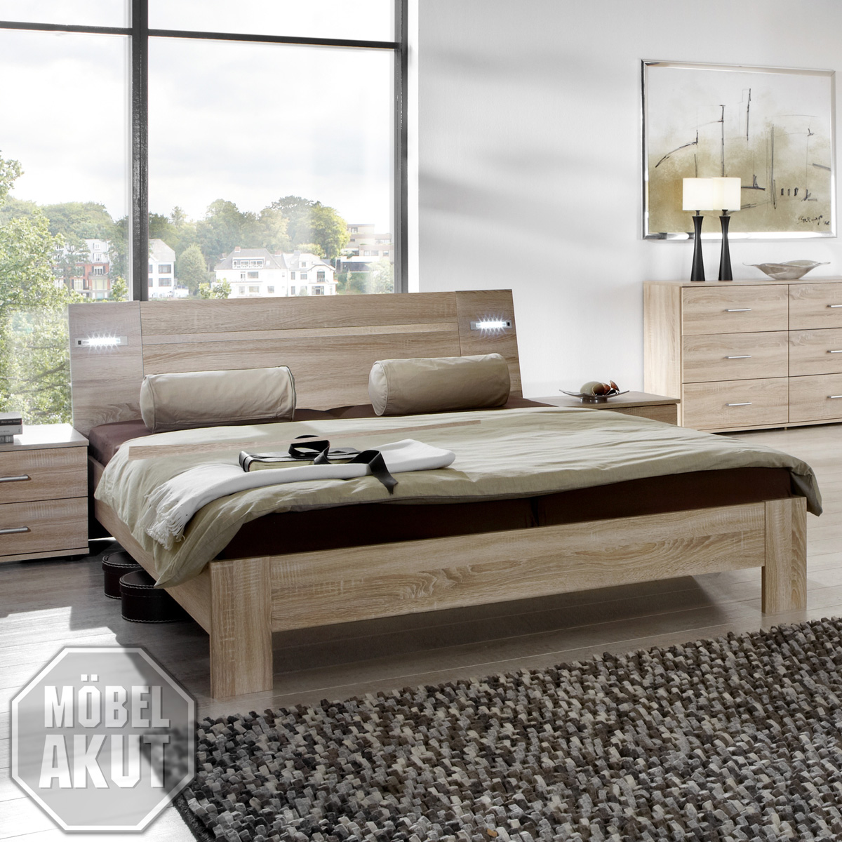 futonbett viza bett in sonoma eiche s gerau inkl beleuchtung 180x200 ebay. Black Bedroom Furniture Sets. Home Design Ideas