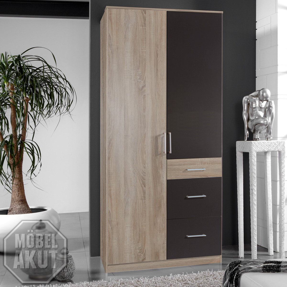 kleiderschrank click schrank in sonoma eiche s gerau lava 90 cm ebay. Black Bedroom Furniture Sets. Home Design Ideas